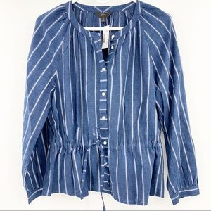 New J.Crew Tie-Waist Top In Indigo Gauze Stripe